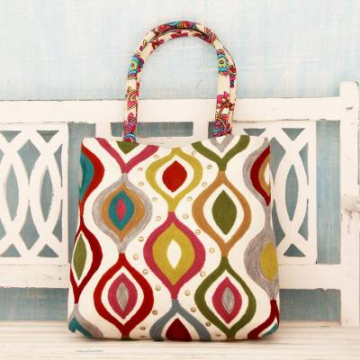 Cotton tote handbag, 'Color Melange' - Aari Embroidery Handcrafted Multi Print Cotton Tote Handbag