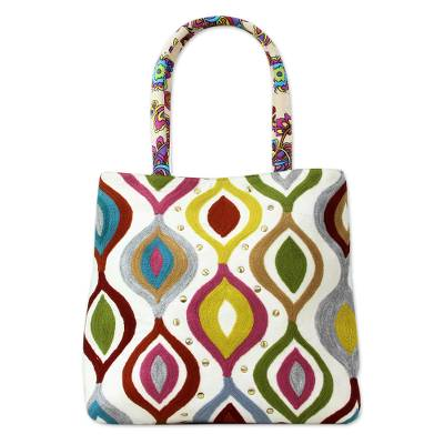 Aari Embroidery Handcrafted Multi Print Cotton Tote Handbag