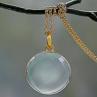 Gold vermeil chalcedony pendant necklace, 'Ecstasy in Aqua' - Fair Trade Chalcedony Pendant Necklace in 18k Gold Vermeil