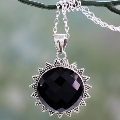 Onyx pendant necklace, 'Black Sun Halo' - Indian Traditional Onyx and Sterling Silver Sun Necklace