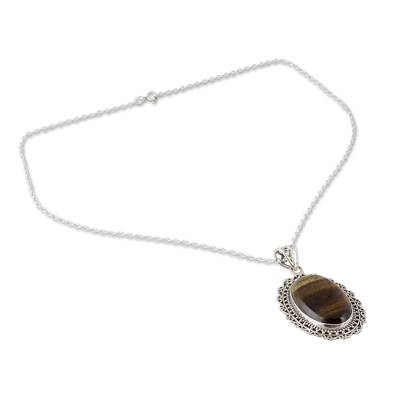 Tiger's eye pendant necklace, 'Warm Radiance' - Free Trade Sterling Silver Tiger's Eye Necklace from India