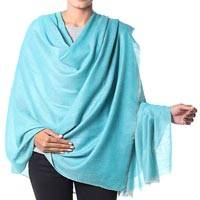Cashmere shawl, 'Changthang Aqua' - Solid Turquoise Hand Spun and Woven Cashmere Shawl