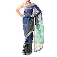 Cotton and silk sari, 'Regal Blue Allure' - Golden Trim Handwoven Blue and Green Silk Blend Sari
