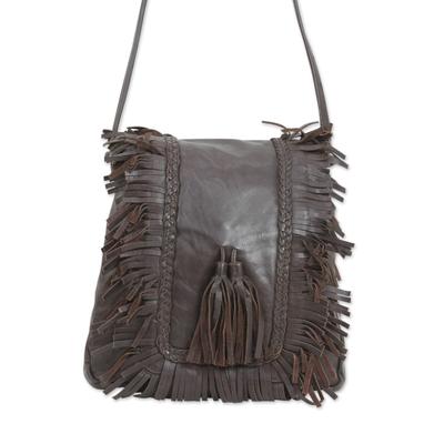 Espresso Brown Leather Shoulder Bag with 3 Inner Pockets