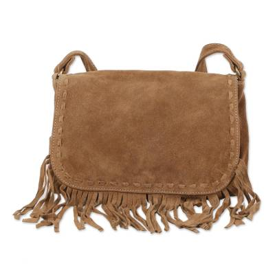 Novica Leather messenger bag, Wandering Caramel