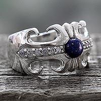 Lapis lazuli cocktail ring, 'Blue Charm' - Hand Crafted Lapis Lazuli and Sterling Silver Cocktail Ring