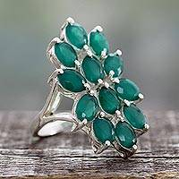 Onyx cocktail ring, 'Lyrical Green' - Artisan Crafted Green Onyx and Sterling Silver Ring