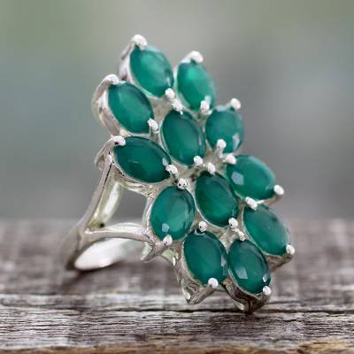 Artisan Crafted Green Onyx and Sterling Silver Ring