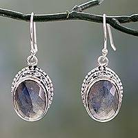 Labradorite dangle earrings, 'Harmonious Glimmer' - Labradorite and Sterling Silver Hand Crafted Dangle Earrings