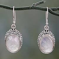 Rainbow moonstone dangle earrings, 'Melodious Charm' - Rainbow Moonstone and Sterling Silver Hand Crafted Earrings