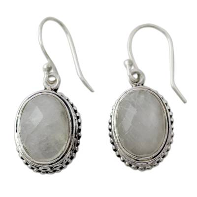 Novica Rainbow Moonstone and Sterling Silver Dangle Earring