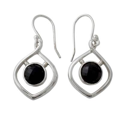 Handmade Contemporary Indian Earrings in Silver and Onyx