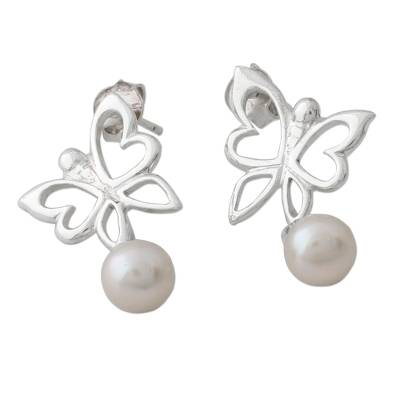 Sterling Silver Butterfly Earrings with Cultured Pearl