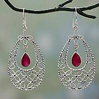 Ruby dangle earrings, 'Petals in Pink' - Lacy Sterling Silver Earrings with Deep Pink Rubies