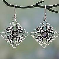 Rainbow moonstone dangle earrings, 'Fan Flowers' - Floral Silver Earrings with Rainbow Moonstone Gems