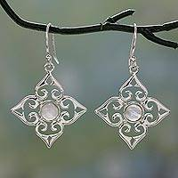 Rainbow moonstone dangle earrings, 'Four Seasons' - Sterling Silver Fair Trade Earrings with Rainbow Moonstone