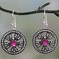 Ruby dangle earrings, 'Rose Chakra Halo' - Ruby Earrings in Silver 925 with Sparkling Cubic Zirconia