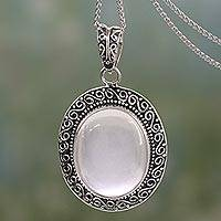 Rose quartz pendant necklace, 'Pink Jaipur Princess' - Indian Artisan Handcrafted Silver Necklace with Rose Quartz