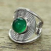 Onyx cocktail ring, 'Evergreen Spiral' - Sterling Silver Cocktail Ring from India with Green Onyx