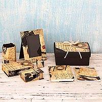 Handmade paper desk set, 'Beautiful Memories' (8 pieces) - Paper Desk Accessory Set (8 Pieces) from India