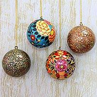 Papier mache ornaments, 'Floral Celebrations' (set of 4) - Artisan Crafted Floral Papier Mache Ornaments (Set of 4)