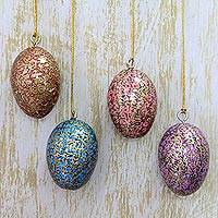Papier mache ornaments, 'Floral Hues' (set of 4) - Artisan Crafted Papier Mache Egg Ornaments (Set of 4)