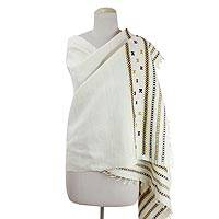 Silk shawl, 'Indian Checkerboard' - Geometric Motifs Handwoven Indian Eri Silk Shawl