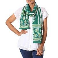 Batik cotton scarf, 'Verdant Paisley' - Green Indian Woodblock Paisley Pattern Batik Cotton Scarf