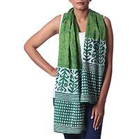 Batik cotton shawl, 'Glorious Green' - Green Indian Vine and Flower Bud Pattern Batik Cotton Shawl