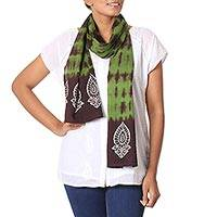 Batik and tie-dye cotton scarf, 'Avocado Landscape' - Batik and Tie-Dye Cotton Scarf in Avocado and Espresso