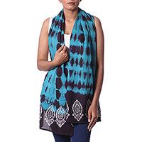 Batik cotton scarf, 'Caribbean Blue Waves' - Batik Tie Dye Cotton Scarf in Caribbean Blue from India