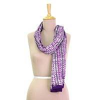 Cotton batik scarf, 'Purple Vines' - Batik Printed Purple Cotton Scarf with Vine Pattern