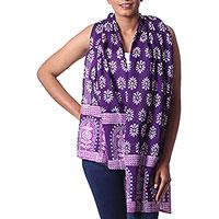 Cotton batik scarf, 'Purple Gardens' - Purple Floral Pattern Batik Printed Cotton Scarf