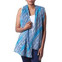 Cotton batik scarf, 'Abstract Beauty' - Handmade Batik Patterned Blue Cotton Scarf from India