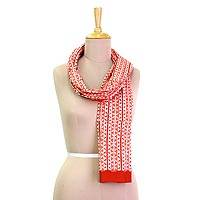 Cotton batik scarf, 'Strawberry Vines' - Red Orange and White Vine Printed Batik Cotton Scarf