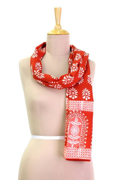 Cotton batik scarf, 'Sunflower Gardens' - Red and Pink Cotton Batik Scarf with Flower Print