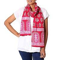 Cotton batik scarf, 'Cherry Gardens' - Red Pink and White Batik Floral Printed Scarf