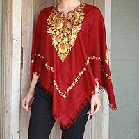 Wool poncho, 'Wine and Marigolds' - Burgundy Wool Poncho Lavish Chain Stitch Floral Embroidery