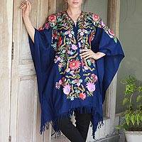 Wool cape, 'Persian Sea' - Ample Blue Wool Cape with Chain Stitch Floral Embroidery