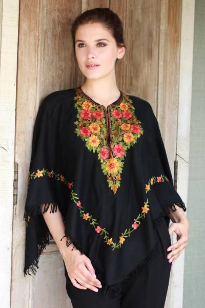 Wool poncho, 'Midnight Floral Grandeur' - Black Wool Poncho with Lavish Chain Stitch Floral Embroidery