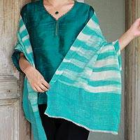 Cashmere shawl, 'Serenity Blue' - Hand Crafted 100% Pashmina Wool Shawl in Turquoise and Ivory