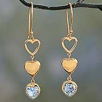 Gold vermeil blue topaz dangle earrings, 'Three Hearts in Harmony' - Gold Vermeil Heart Earrings from India with Blue Topaz