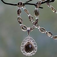 Smoky quartz pendant necklace, 'Princess Mist' - Smoky Quartz Pendant Necklace with Silver and Crystal Quartz