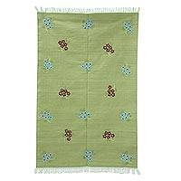 Cotton area rug, 'Floral Beauty' (4x6) - Hand Woven Cotton Area Rug with Embroidery (4x6) from India