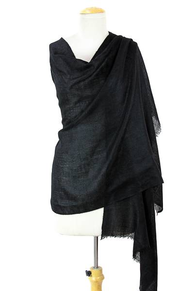 Cashmere shawl, 'Midnight Luxury' - Black 100% Pashmina Wool Hand Woven Shawl from India