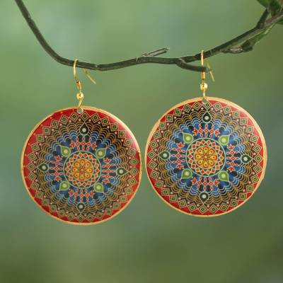 Brass dangle earrings, 'Mesmerizing Mandala' - Colorful Mandala Motif Enameled Brass Dangle Earrings
