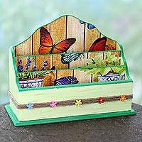 Decoupage letter holder, 'Butterflies in the Garden' - India Artisan Crafted Blue Wood Decoupage Letter Holder