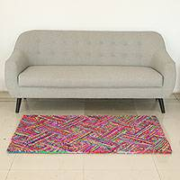 Recycled fabric Chindi rug, 'Rainbow Zigzags'