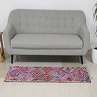 Recycled fabric Chindi rug, 'Waves of Illusion' - Patterned Multicolored Recycled Fabric Area Rug from India
