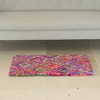 Recycled fabric Chindi rug, 'Vibrant Diamonds' - Artisan Made Colorful Indian Recycled Fabric Chindi Area Rug